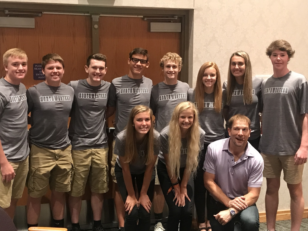 Northwestern Student Athlete Leadership Team with Dr. Rob Bell at Central Indiana Leadership Conference.