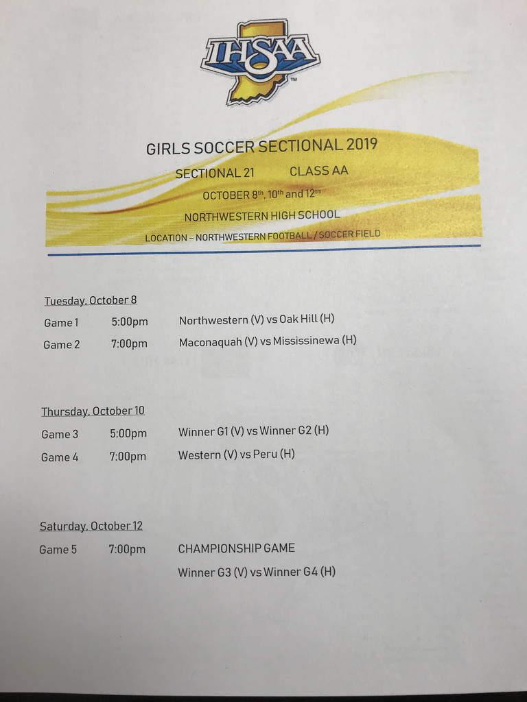 Girls Soccer Sectional Schedule