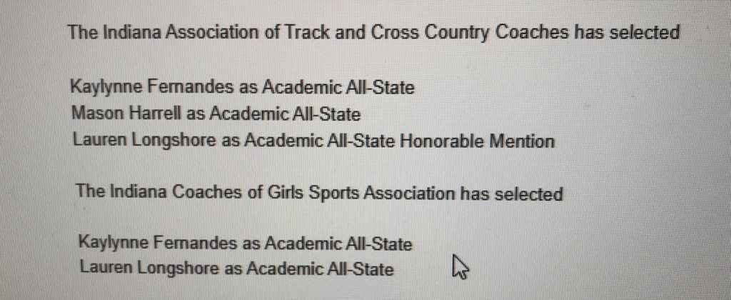Academic All State-XC